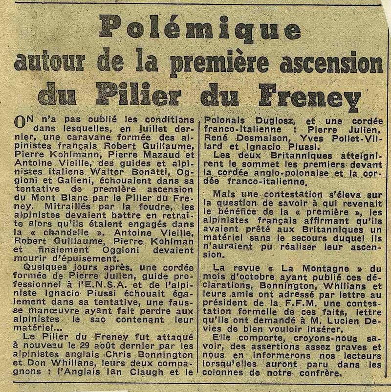 Article Dauphiné - Pilier du Frêney 1961