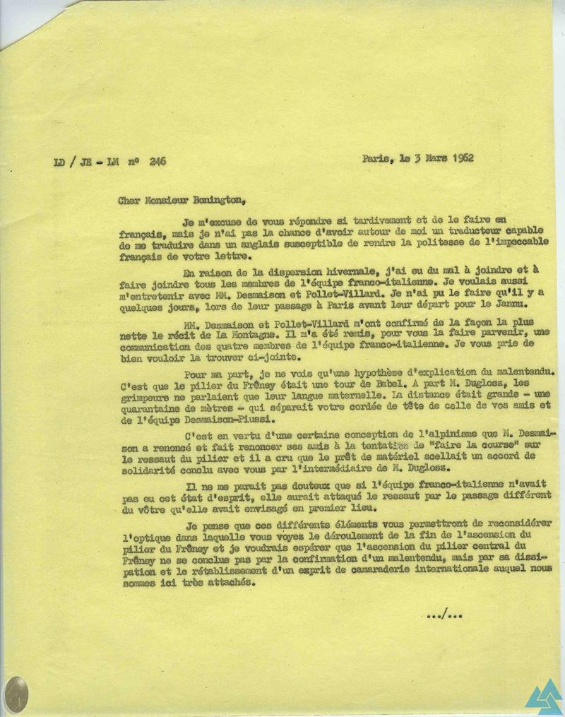 Courrier Devies-Bonington Pilier du Frêney 1961