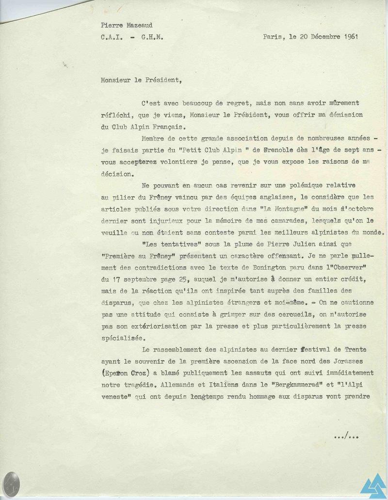 Frêney 1961 : démission Pierre Mazeaud - 1/2