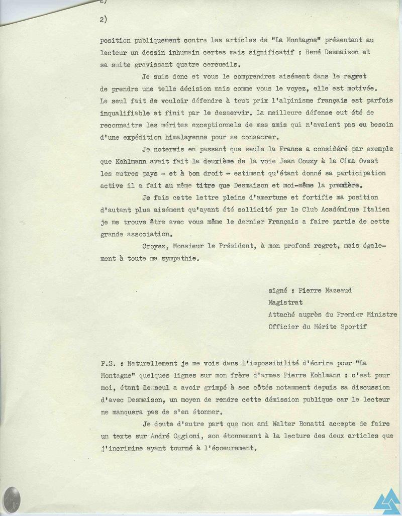 Frêney 1961 : démission Pierre Mazeaud - 2/2