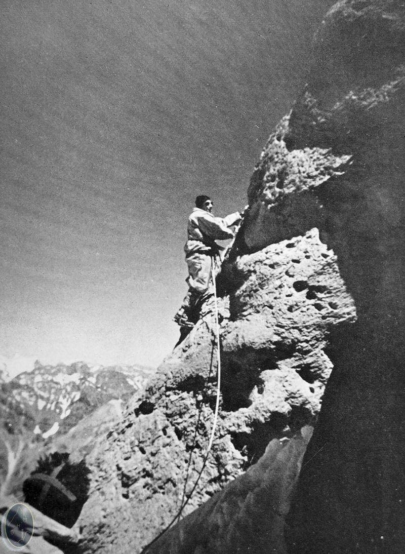Lucien Bérardini dans la face sud de l'Aconcagua en 1954