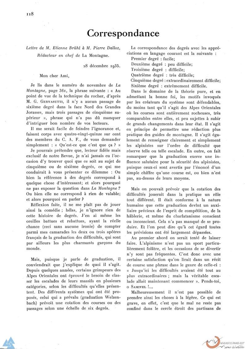 Correspondance entre Etienne Bruhl et Pierre Dalloz à propos des graduations en escalade