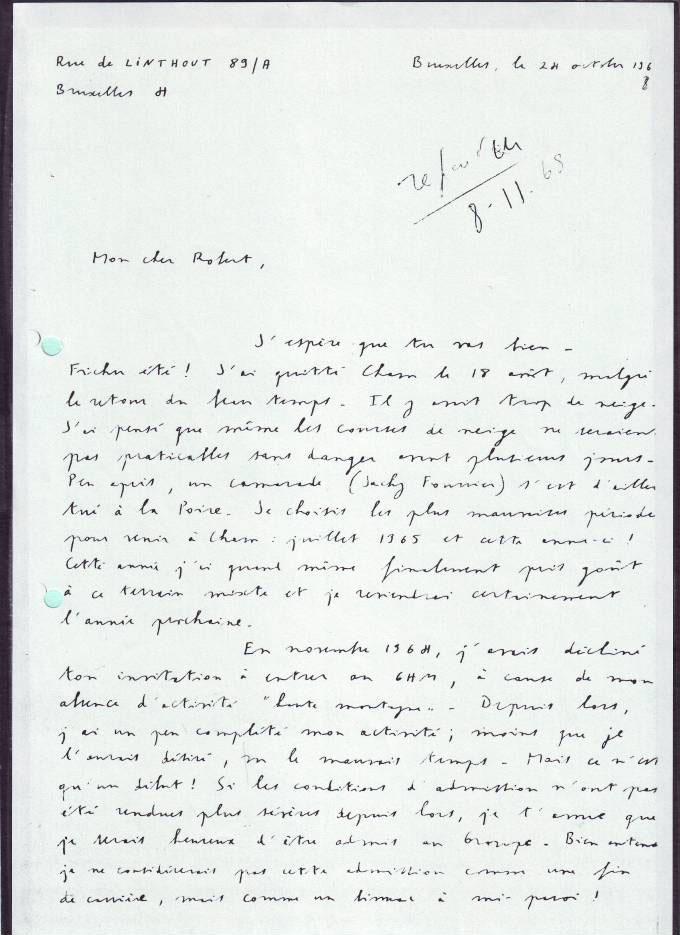 Lettre de Claudio Barbier à Robert Paragot en 1968 1/2
