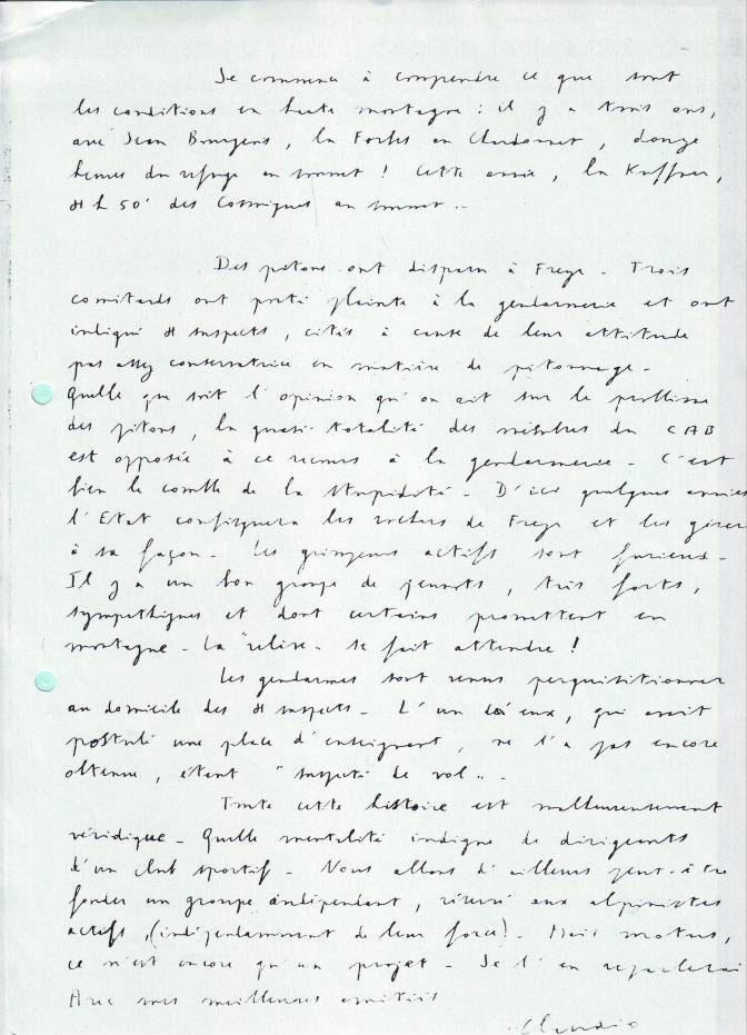 Lettre de Claudio Barbier à Robert Paragot en 1968 2/2