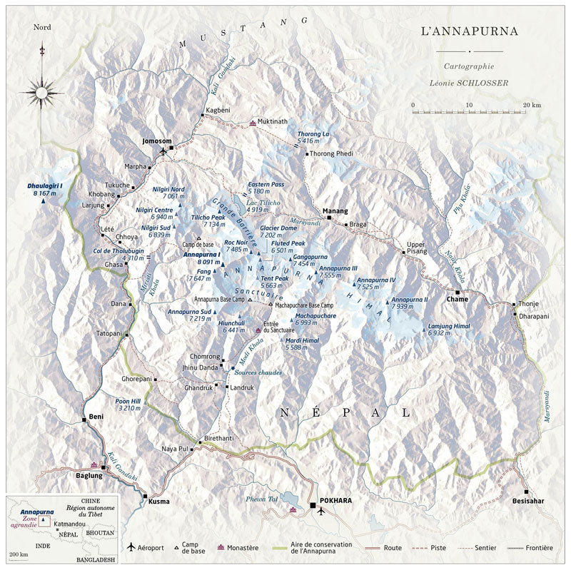 Carte du massif de l'Annapurna
